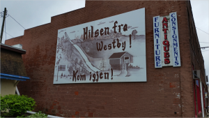 Greetings from Westby! Come again! sign